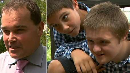 Christian Killoran, left, with his sons, Christian, center,