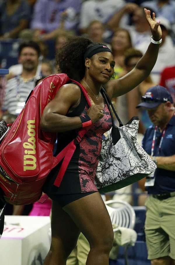 Serena Williams leaves the court after Vitalia Diachenko