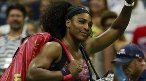 Serena Williams leaves the court after Vitalia Diachenko