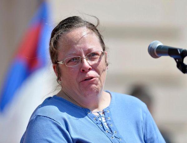 Rowan County, Ky. Clerk Kim Davis shows emotion
