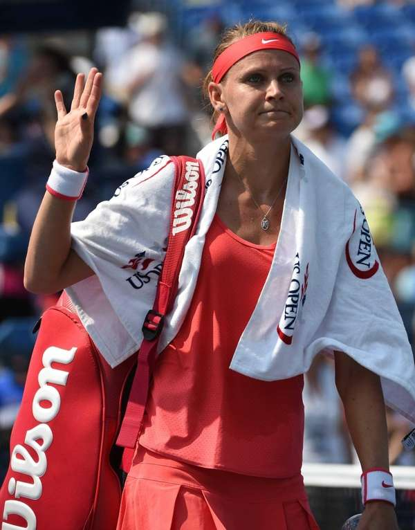 Lucie Safarova of the Czech Republic reacts after