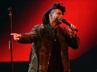 The Weeknd performs during the 2015 MTV Video