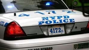 A New York Police Department car is viewed