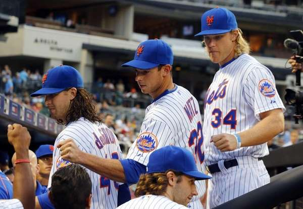 Jacob deGrom #48, Steven Matz #32 and Noah