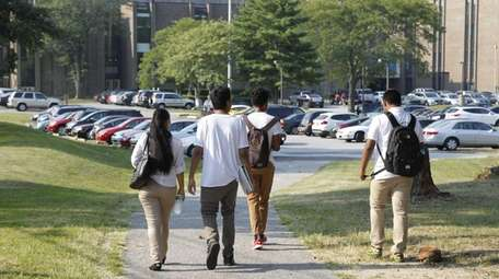 Students arrive for the first day of school