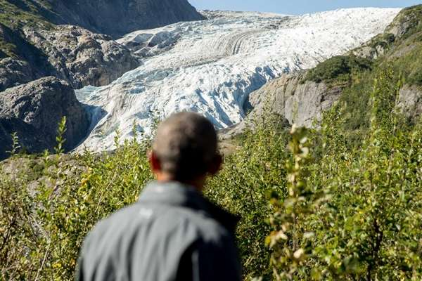 President Barack Obama stared down a melting glacier