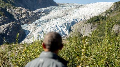 President Barack Obama stared down a melting glacier