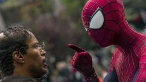 Jamie Foxx, left, and Andrew Garfield as Spider-Man