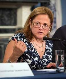 City Council speaker Melissa Mark-Viverito speaks to reporters