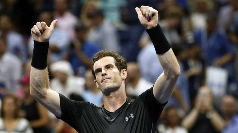 Andy Murray, of Britain, reacts after beating Nick