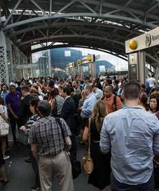 Commuters jam Jamaica Station as the Long Island