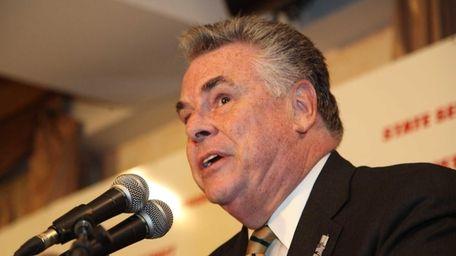 Rep. Peter King (R-Seaford) speaks in Westbury on