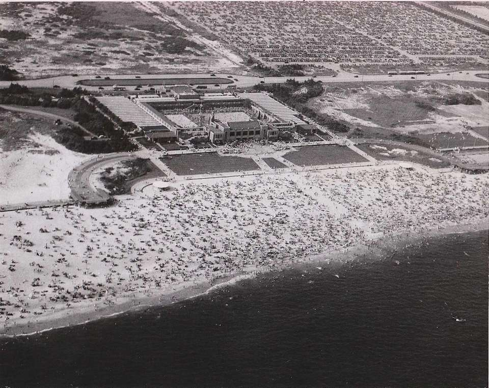 An aerial view of Jones Beach State park