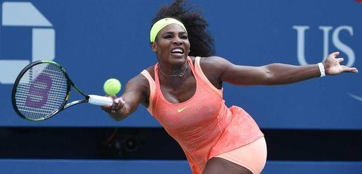 Serena Williams returns to Kiki Bertens during the