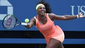 Serena Williams returns to Kiki Bertens during the