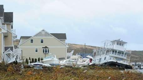 The aftermath of superstorm Sandy is seen in