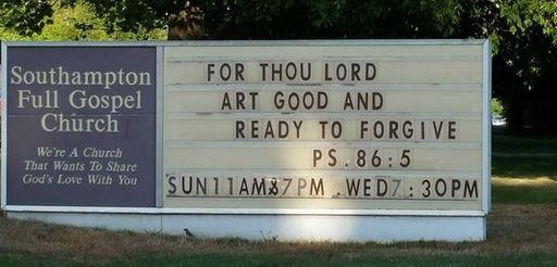 The sign outside the Southampton Full Gospel Church