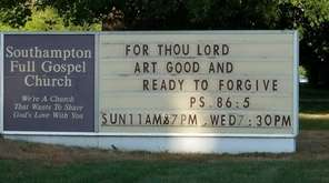 The sign outside the Southampton Full Gospel Church