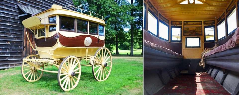 This horse-drawn omnibus is a relic dating back