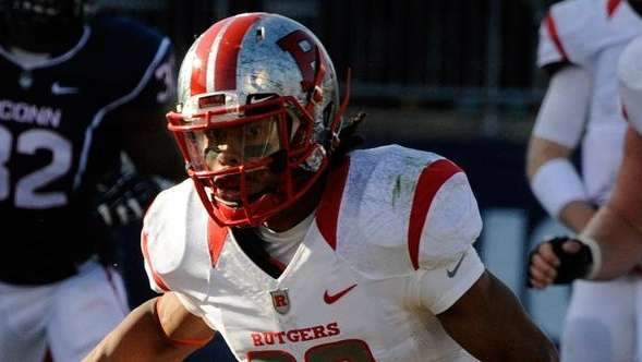 Rutgers wide receiver Ruhann Peele (80) tries to