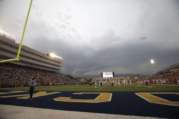 Storm clouds move over the Glass Bowl delaying