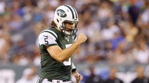 Matt Flynn of the New York Jets reacts