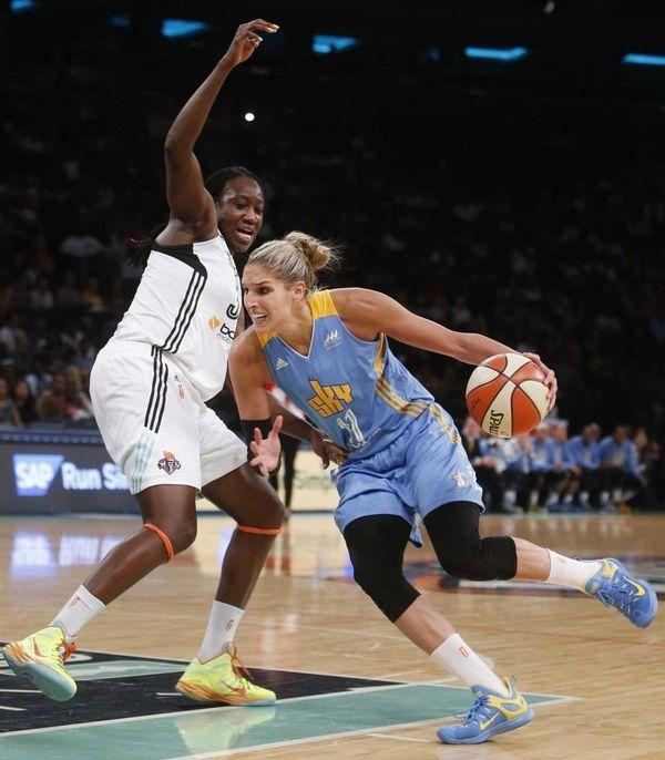 Chicago Sky's Elena Delle Donne drives against New