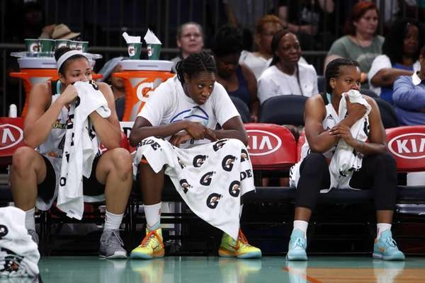 From left, New York Liberty's Kiah Stokes, Tina
