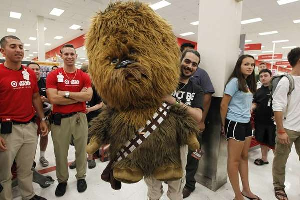 Michael Quinn win a Chewbacca in a raffle
