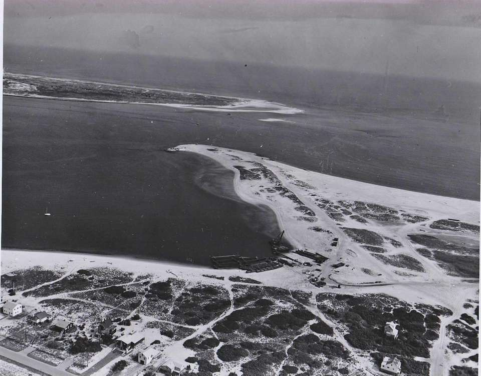 A aerial view of Fire Island inlet on