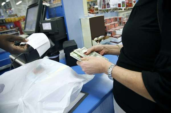 A customer paying for a purchase.