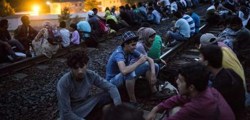 Migrants sit on the railway tracks near Tatabanya,