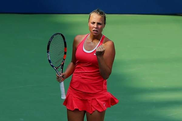 Anett Kontaveit of Estonia reacts against Madison Brengle