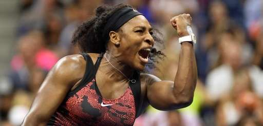 Serena Williams reacts to her victory over Bethanie