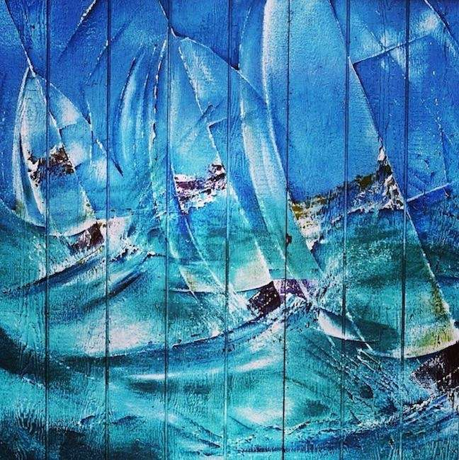 This ocean mural can be found outdoors at