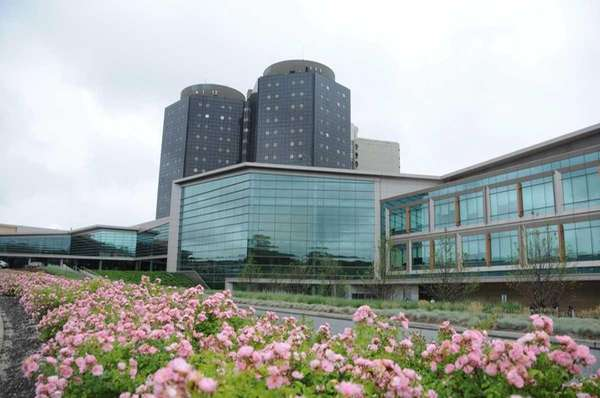 The exterior of Stony Brook University Hospital is