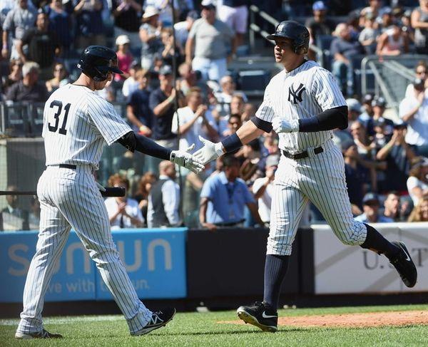 New York Yankees first baseman Greg Bird congratulates