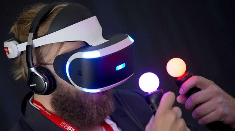 A man tests a Sony 'Project Morpheus Virtual