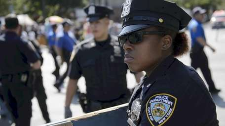 New York City Police Department officers along Eastern