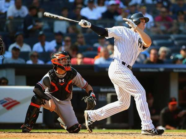 Greg Bird of the New York Yankees hits
