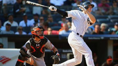 Greg Bird of the New York Yankees hits