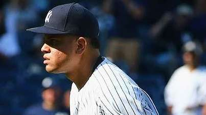 Dellin Betances of the New York Yankees reacts