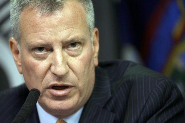 New York City Mayor Bill de Blasio speaks