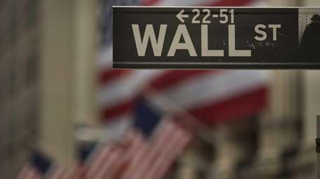 The Wall Street sign outside the New York