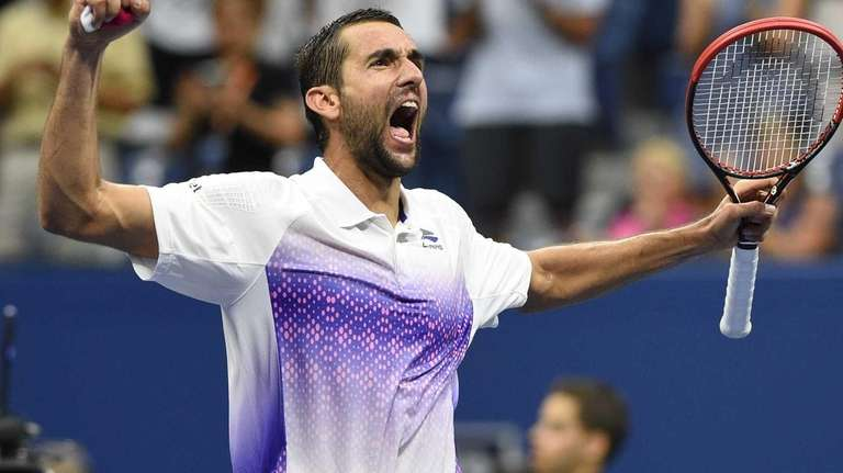 Marin Cilic reacts after he wins his match