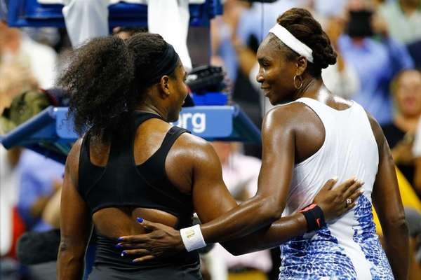 Serena Williams, left, of the United States hugs
