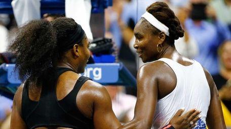Serena Williams, left, of the United States hugs