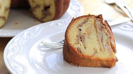A classic apple cake with layers of batter