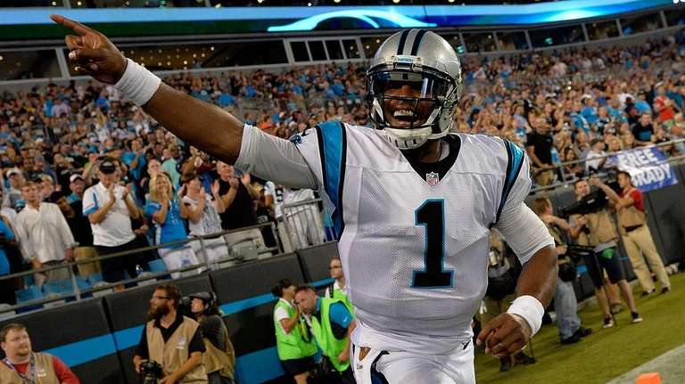 Cam Newton #1 of the Carolina Panthers salutes