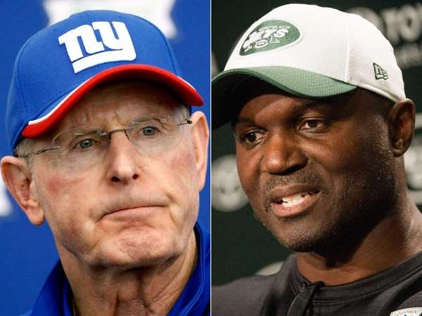 Giants head coach Tom Coughlin and Jets head